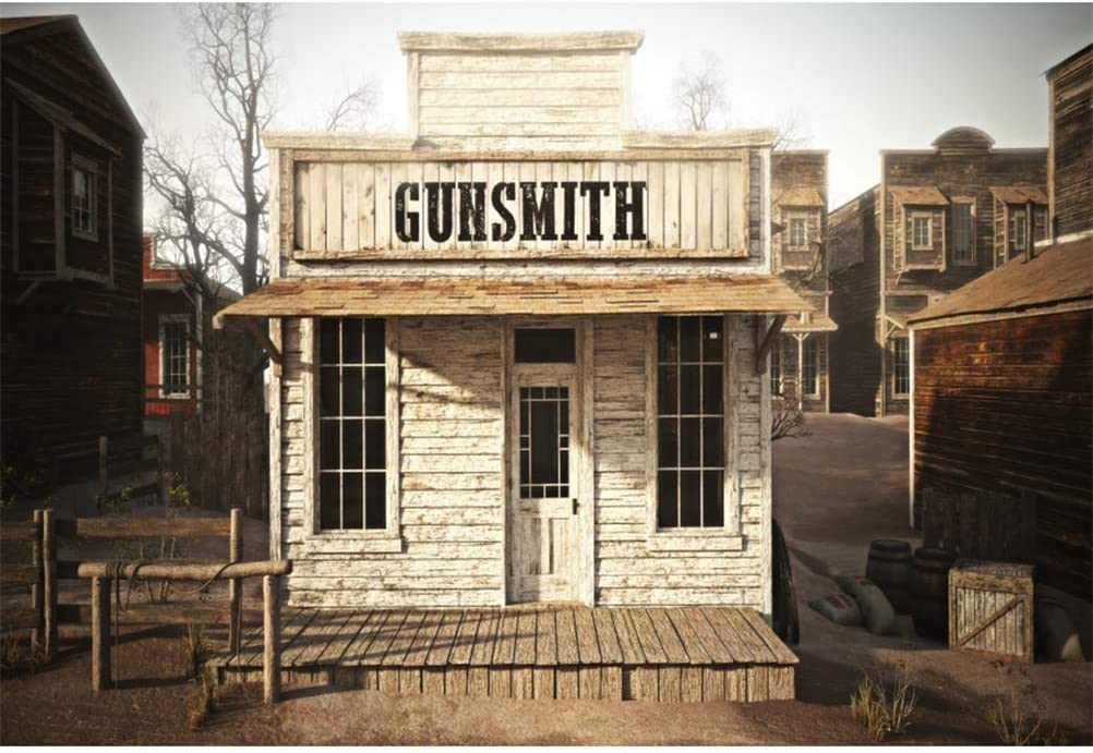 8x6.5ft Wild West Gunsmith Shop Polyester Photography Background Desolate Small Town Scenic Backdrop Western Theme Cowboy Portrait Shoot Countryside Rural Wallpaper Studio Photo Props