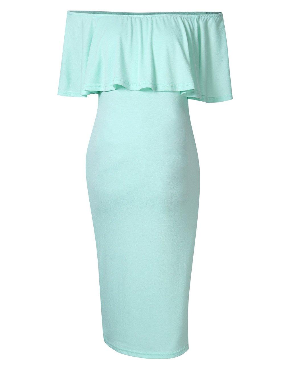 MissQee Women's Maternity Dress Off Shoulder Casual Maxi Dress LXT_01071LXT