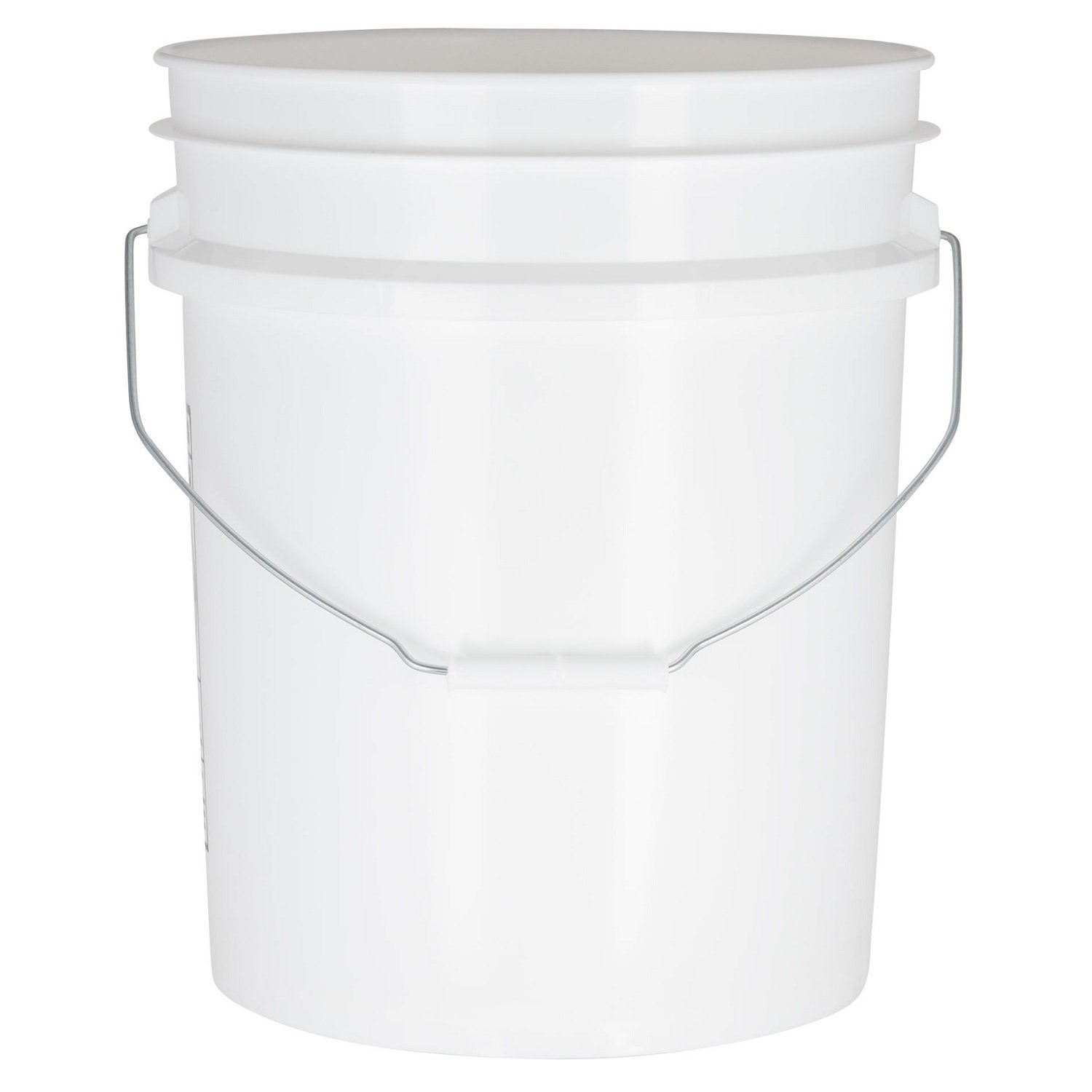 White 5 Gallon Food Grade Bucket - 90 Mil Heavy Duty Plastic Pail with Metal Handle