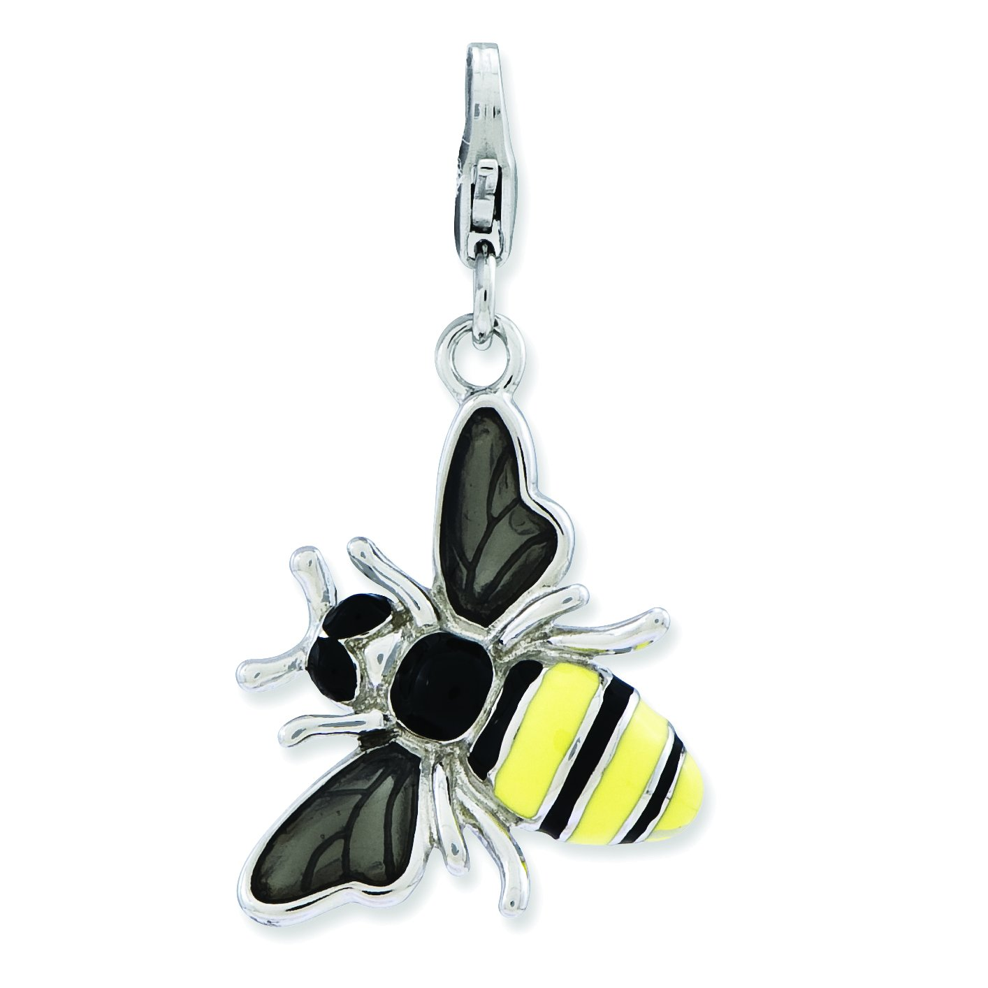 Amore La Vita Sterling Silver Enameled 3-D Yellow Jacket with Lobster Clasp Charm