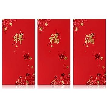 Amazon.com: Sobres de alta calidad de color rojo chino ...