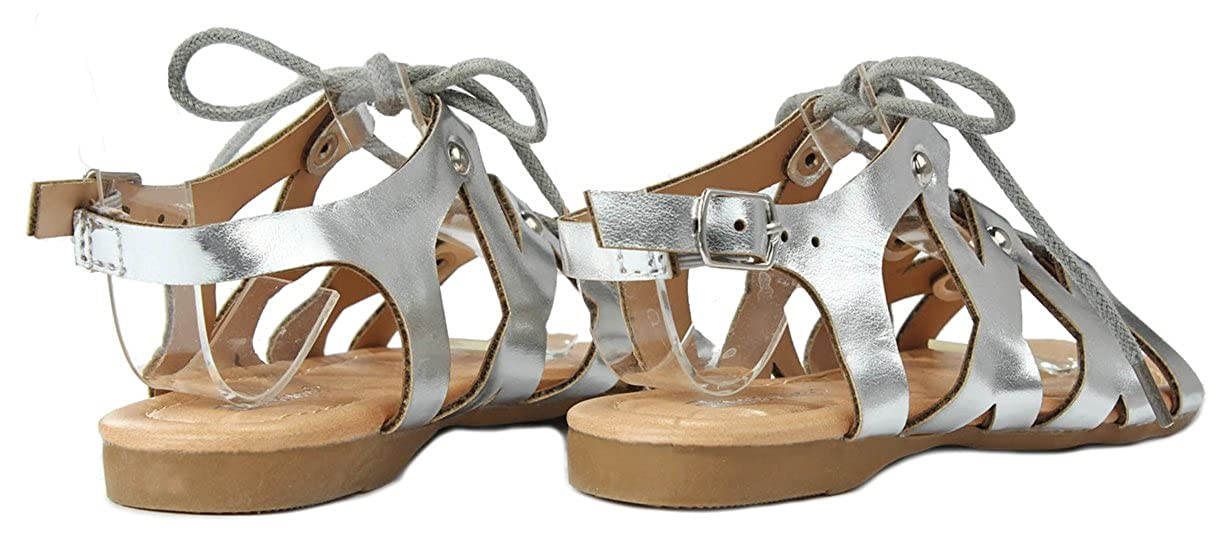 Girls Kids Cut Out Lace Up Gladiator Roman Ankle Strap Comfort Flat Sandals