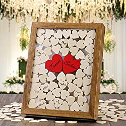 Wedding Decorations 130 PCS Wooden Heart Include 30 mm and 60mm Wooden Heart Cutouts for Wedding or Anniversary Ceremony