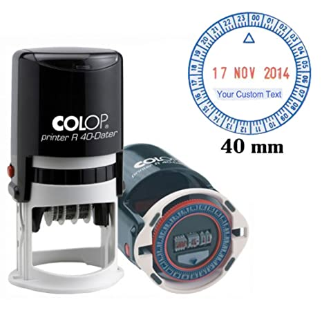 Self Inking Colop R40 24 Hour Time Date Stamp 40mm Round Business Stamp Custom Text Red Blue