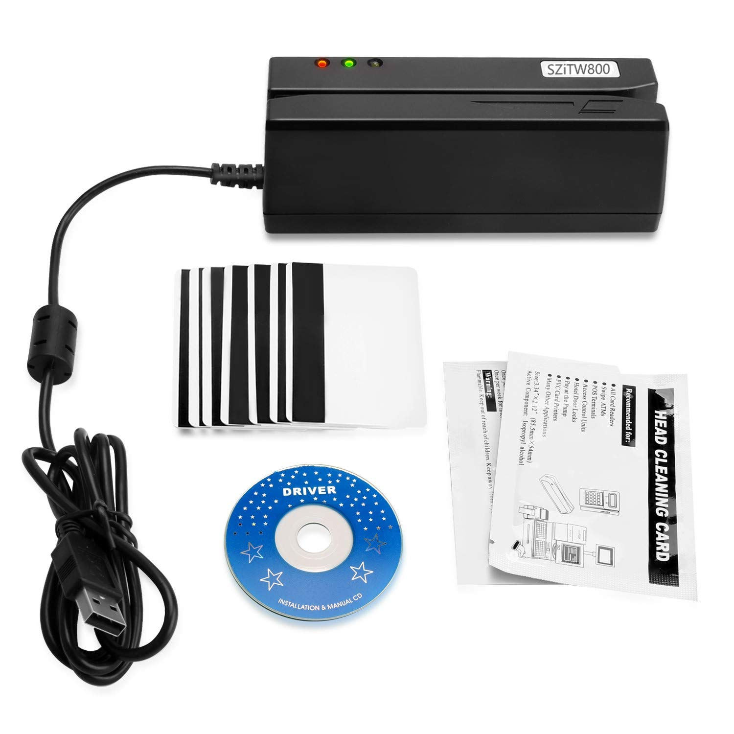 SZiTW800 Mini Magnetic Card Reader Writer Encoder with 10pcs Blank HiCo Magnetic Strip Cards, USB Play and Plug, no Need Adapter, Easy to Read, Copy and Erase Datas from Magnetic Card by SZiTW Reader