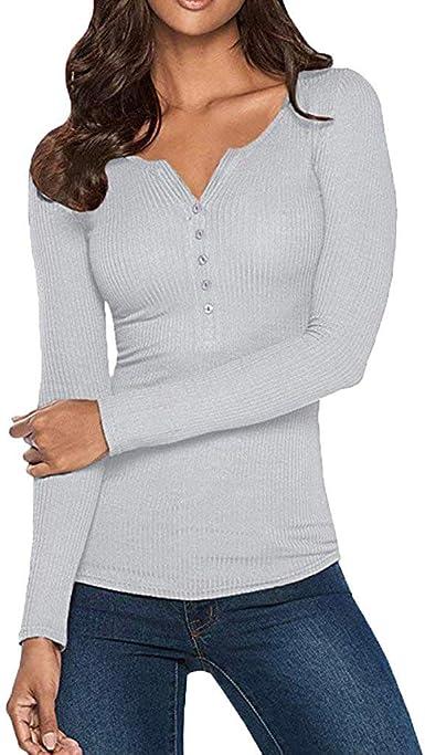 Fannyfuny Camisa Mujer Camiseta Sexy Sudadera de Manga Larga Retro V-Cuello con Botón Elegantes Blusas Jersey Tops de Fiesta Playa para Mujeres Adolescentes: Amazon.es: Ropa y accesorios