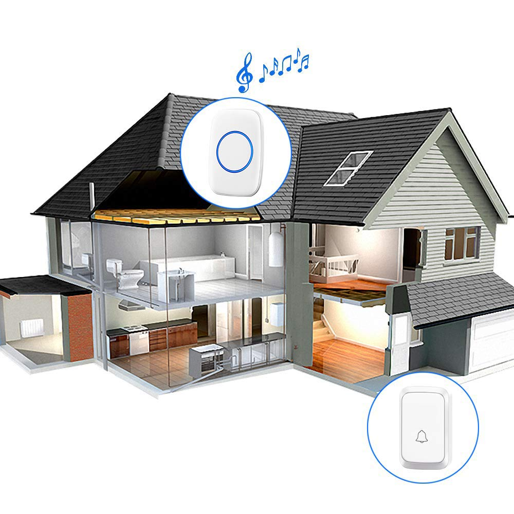 CACAZI Model A60 Wireless Doorbell with 1 Remote Button and 2 Plugin Receivers Operating at over 1000-feet Range with Over 58 Chimes 2x Chimes 1x Button, White No Batteries Required for Receivers