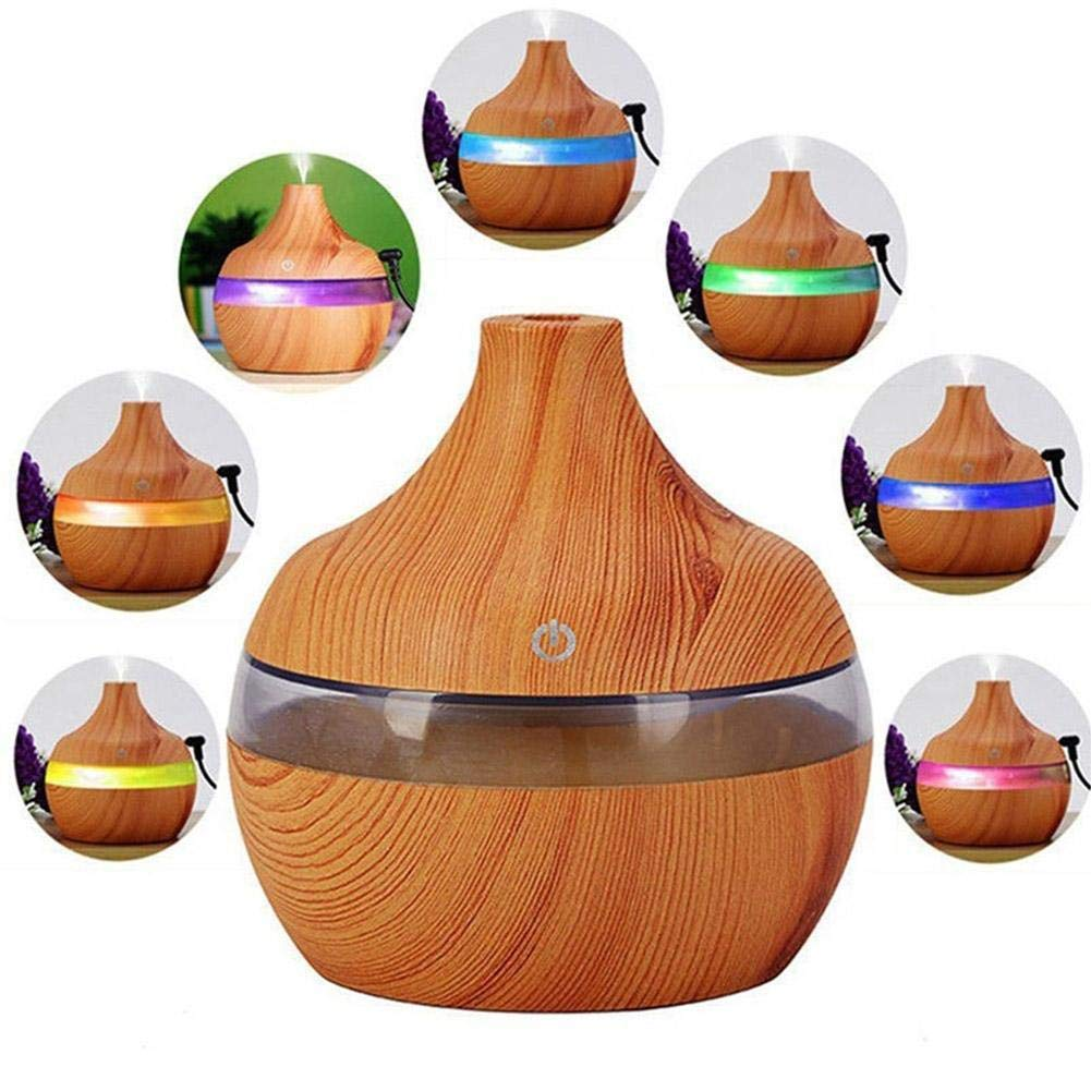 Eletric Wood Grain Ultrasonic Essential Oil Diffuser Cool Moisture Aroma Humidifier Electric Air Freshener with 7 Color Changing Nightlights for Home & Ofiice Light Wood by BleuMoo (Image #4)