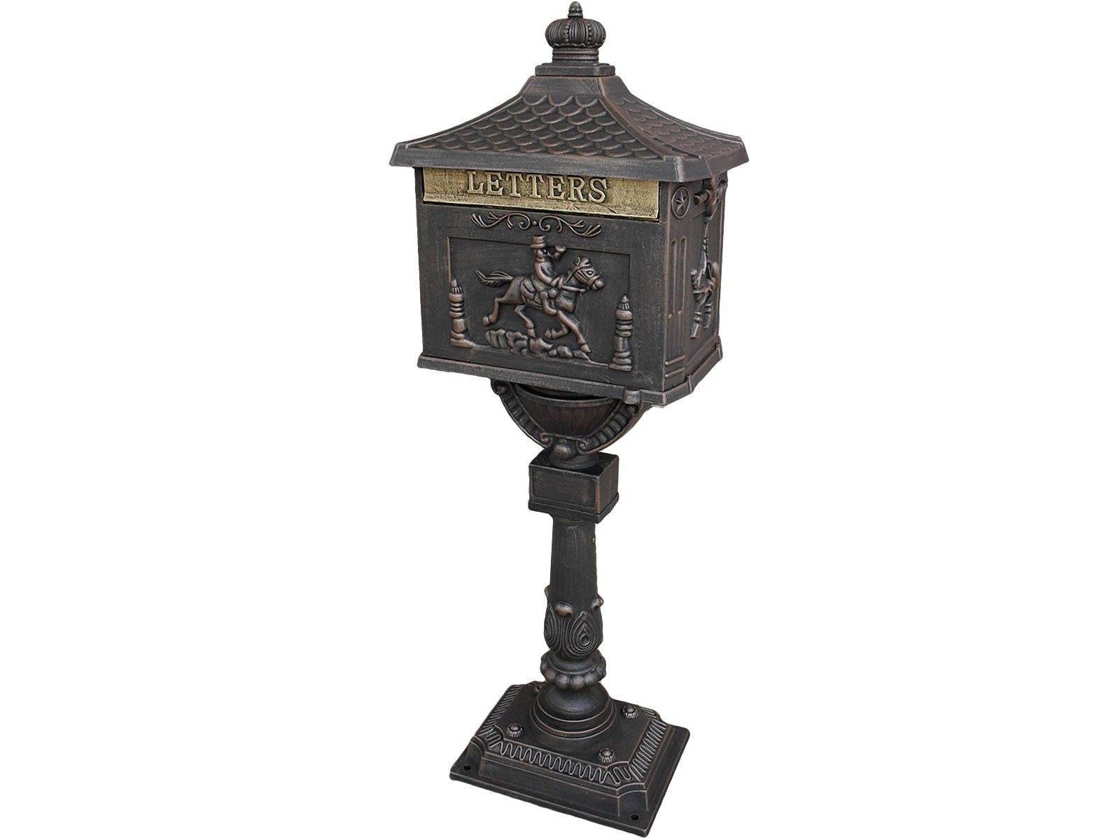 Mail Box Heavy Duty Mailbox Postal Box Security Cast Aluminum Vertical Pedestal (Bronze)