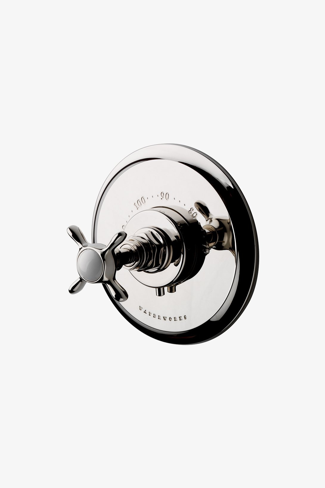 Waterworks Easton Vintage Thermostatic Control Valve Trim with Cross Handle in Chrome
