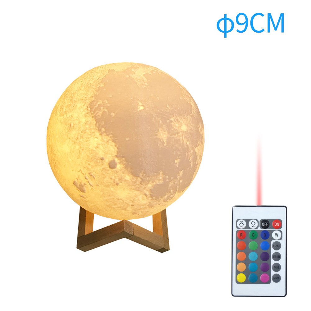 Moon Lamp with Stand StarALL 3D Print Moon Light with Remote Control 16 Color Change Decorative LED Dimmable USB Rechargeable Night Light for Bedrooms Kids Teens Gift Home Office Desk Decoration 3.5''
