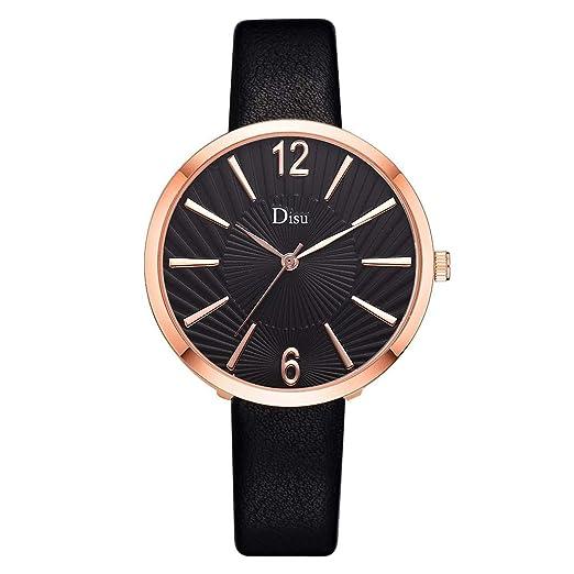 Reloj Mujer Correa De Cuero Lujo Reloj De Cuarzo Moda Dama Textura del Sol Término Análogo Reloj: Amazon.es: Relojes