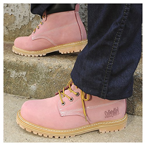 Safety Girl GS003-Lt Pink-8.5M Steel Toe Work Boots - Light Pink - 8.5M, English, Capacity, Volume, Leather, 8.5M, Pink () by Safety Girl (Image #8)