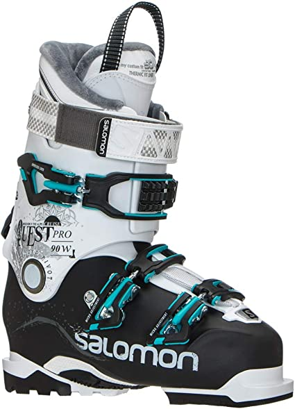 SALOMON Quest Pro Cruise 90 Ski Boots BlackWhiteAqua Womens Sz 88.5 (2525.5)
