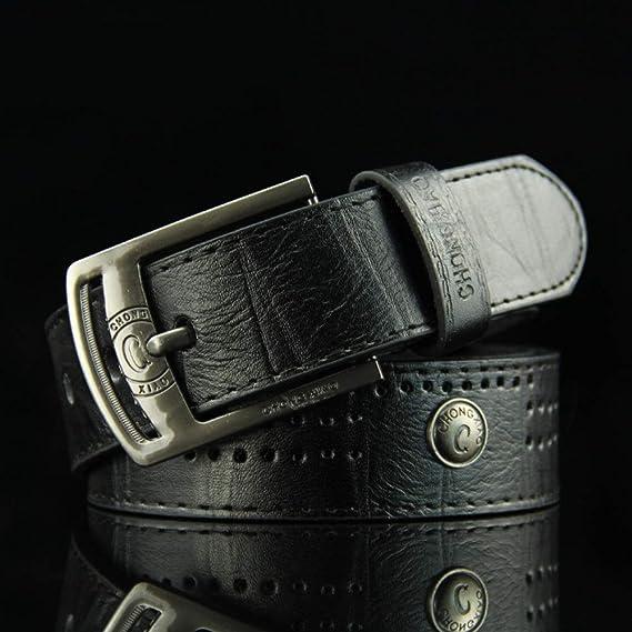 パンクベルト ジーンズやパンツ男性のクラシックの本物のレザーピンバックルベルト レザーパンクベルト (Color : Black, Size : 110cm)
