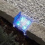 Solar Brick LED Landscape Light, Warm White, 6x6 Size, Glass, Waterproof, Outdoor Use, Solar Panel &...