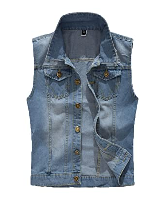 669e11e9736 DianShaoA Men Sleeveless Denim Vest Casual Jeans Light Blue Denim Jacket  Pockets Claasic Slim Cowboy Waistcoat Outwear  Amazon.co.uk  Clothing