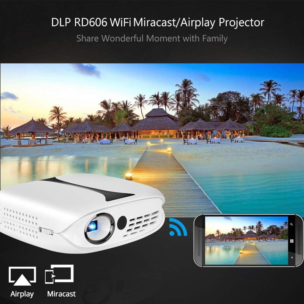 Mini Projector DLP Technology 1280X1080 Resolution Smart WiFi Android 7.1 Wired Sync Display for Phone LED Portable HD Projector Beamer