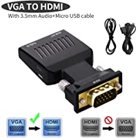 SPIN CART VGA to HDMI 1080P HD Video Converter with 3.5 Audio Port for Laptop PC TV DVD