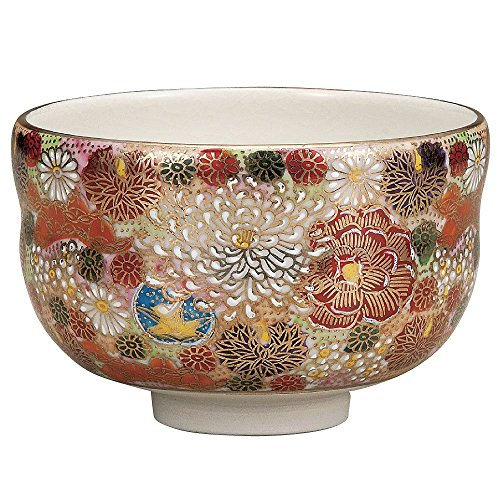 Japanese Matcha Bowl Gold Flower (Hanatume) Kutani Yaki(ware) by Kutani