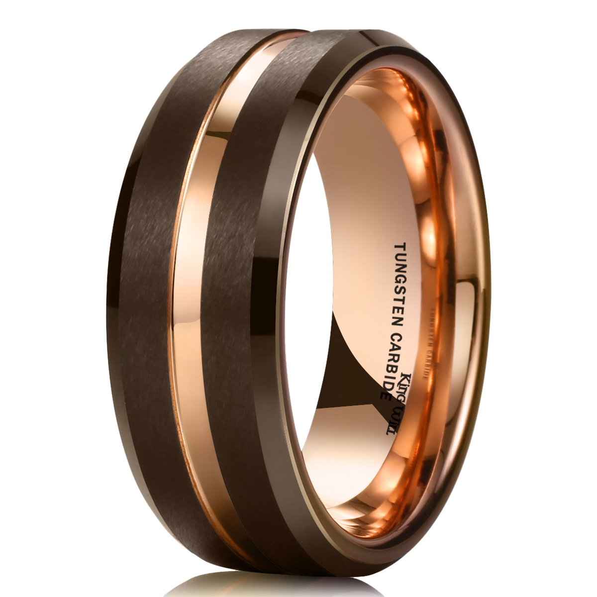King Will DUO 8mm Brown Brushed Tungsten Carbide Wedding Band Ring Thin Rose Gold Groove Comfort Fit 11