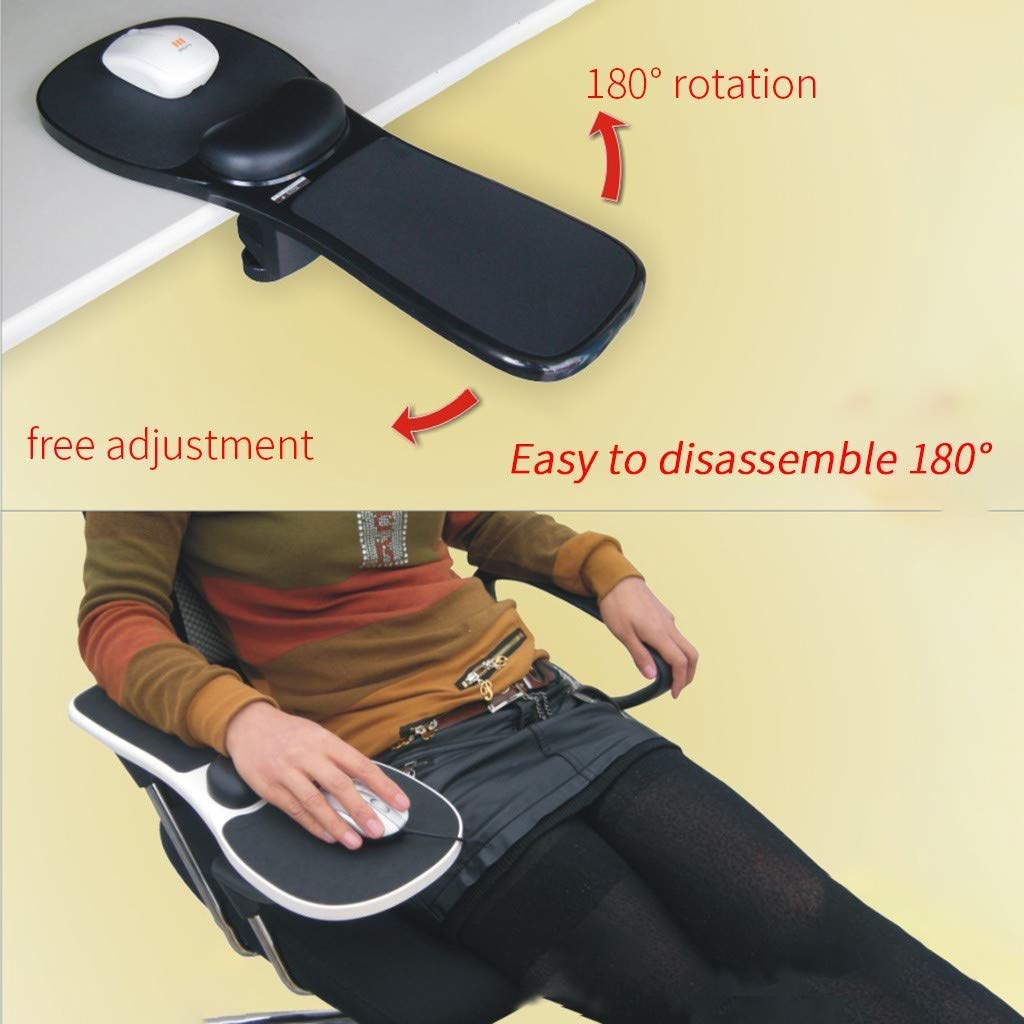Ergonomic Adjustable PC Wrist Rest Extender Rotating Computer Arm Rest Pad Desk Attachable Home Office Mouse Pad Health Care Arm Support