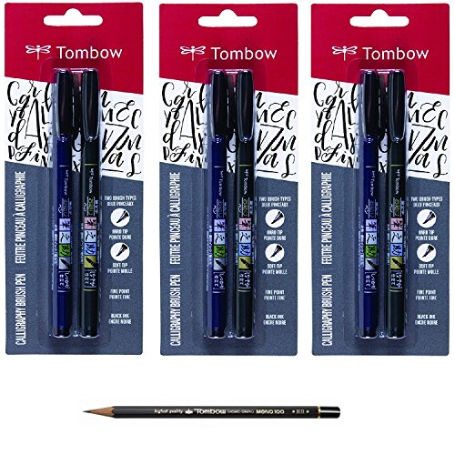Tombow Fudenosuke Brush Pen (6 Pens Set) Bundle with Drawing Pencil - HB