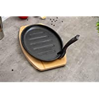 Pan Emirates Ferric Cast Iron Sizzler with Tray, Black - 32 cm