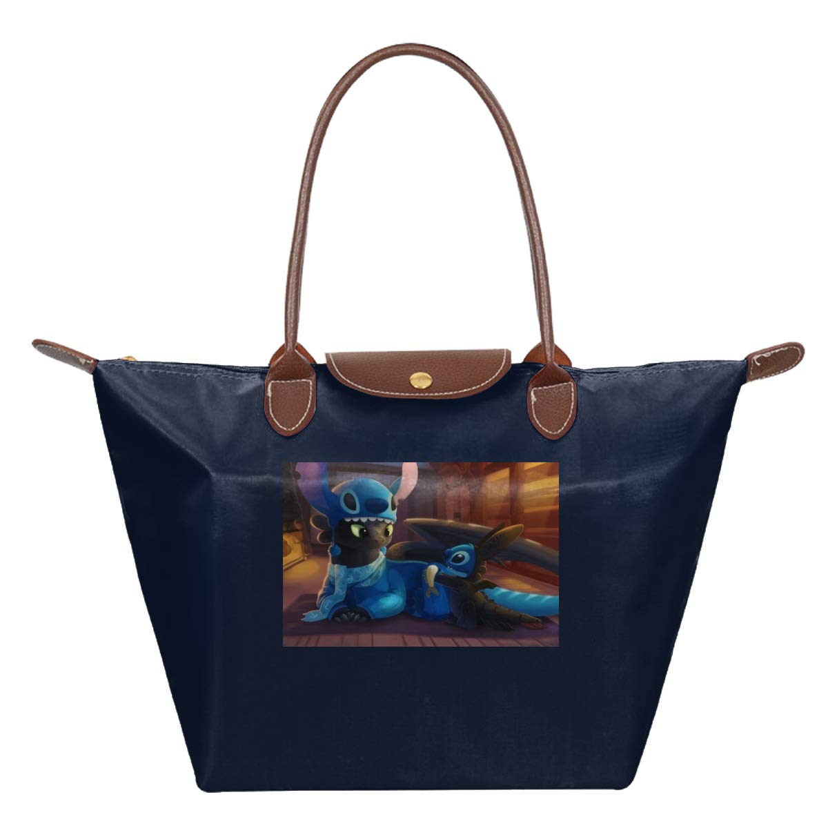 Toothless Dragon And Stit-ch Waterproof Leather Folded Messenger Nylon Bag Travel Tote Hopping Folding School Handbags