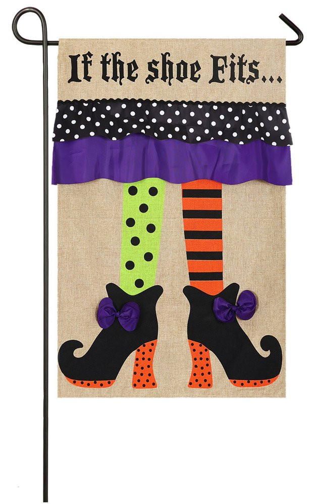 If the Shoe Fits Spooky Halloween Witch Feet Garden Flag
