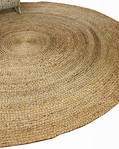 Natural Area Rugs 100% Natural Fiber Handmade Reversible Elsinore Jute 6' Round Rug Beige