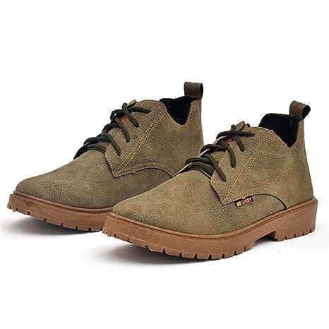 Qiusa Mocasines con Cordones para Hombres Zapatillas de Deporte duraderas Transpirables Ocasionales Suaves Antideslizantes para Hombre