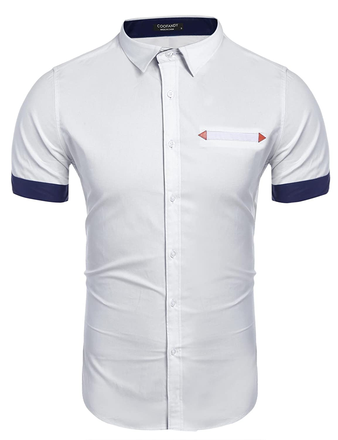 COOFANDY Men's Contrast Color Casual Short Sleeve Slim Fit Button Down Dress Shirt EEE005693
