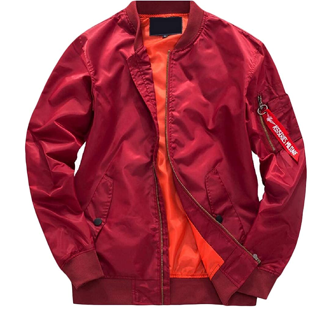 488d9607689 Red Red Red Lutratocro Men's Plus Size Zipper Casual Sport Bomber Flight Jacket  Coat 41bfaa