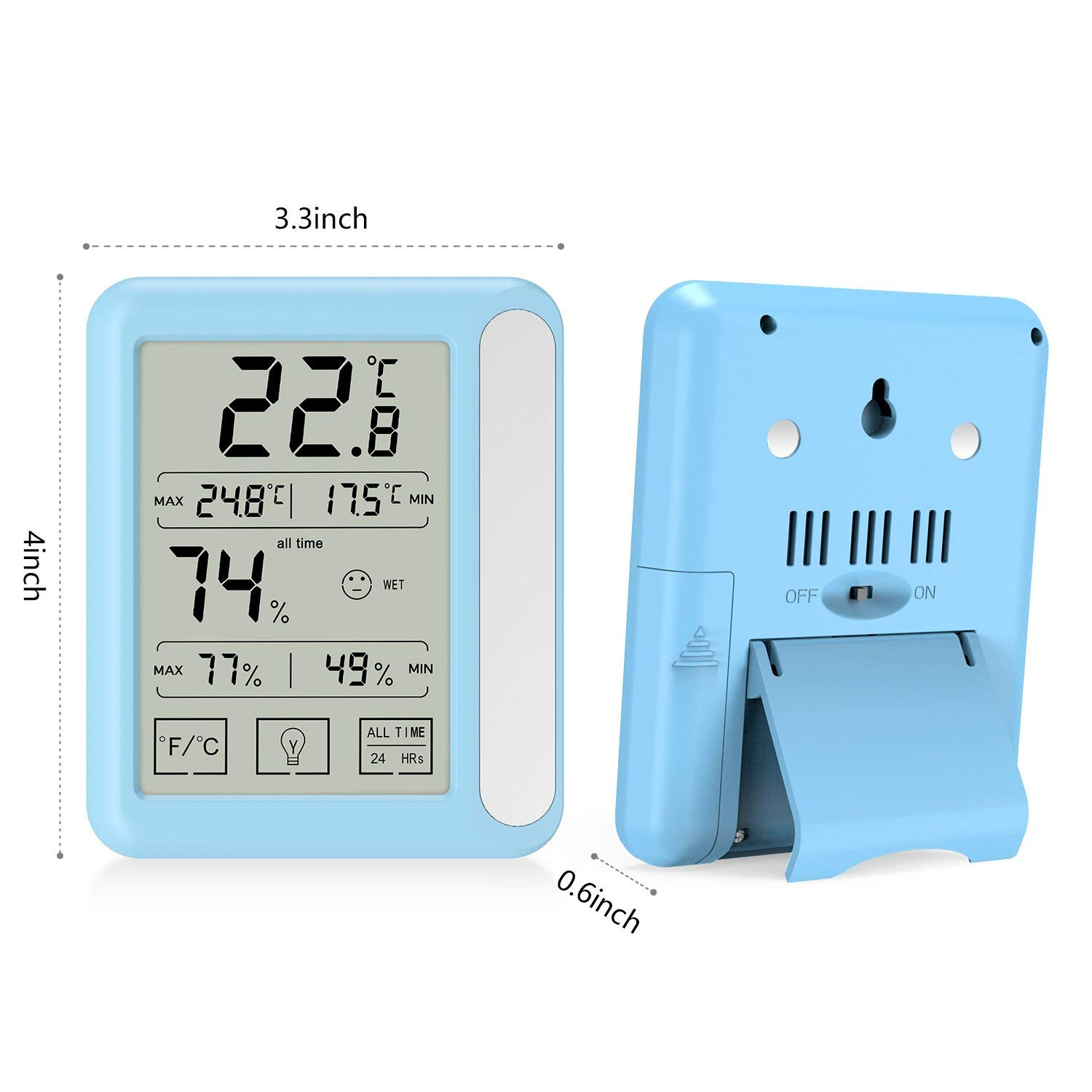 2 Pack Senbowe/™ Digital Hygrometer Indoor Room Thermometer Humidity Gauge with Jumbo Touchscreen Backlight,Max//Min Records,Temperature Humidity Monitor Fahrenheit Or Celsius