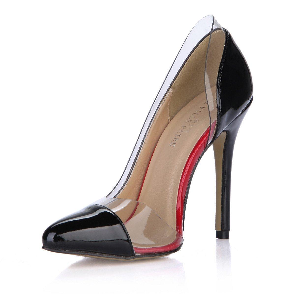 Noir Goût de la nouvelle maturité du produit cuir vernis noir à haut talon fine côté chaussures chaussures vide point cliquez sur US7.5   EU38   UK5.5   CN38