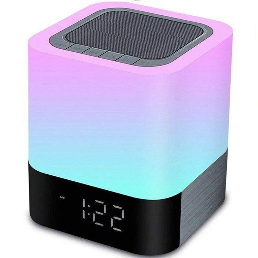 Weite 5-in-1 Wireless Bluetooth V4.0 Portable HiFi Speaker with Dimmable Smart Touch Control Color Changing Night Light, Digital Alarm Clock, MP3 Music Player, Hands Free Call (White)