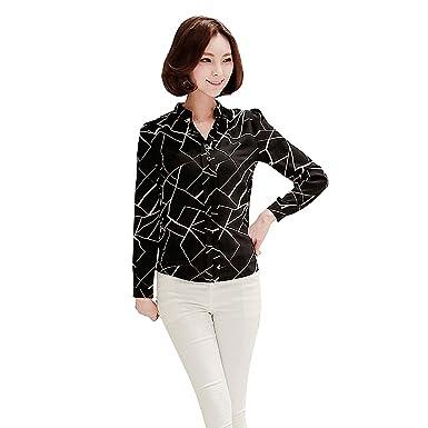 ef4851cd Balai Women Summer Chiffon Work Wear Button Down Shirt Office Blouse Casual  Tops: Amazon.co.uk: Clothing