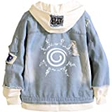 TOLIN Anime Naruto Hoodie Denim Jacket Costume Adult Unisex Cosplay Button Down Jeans Coat