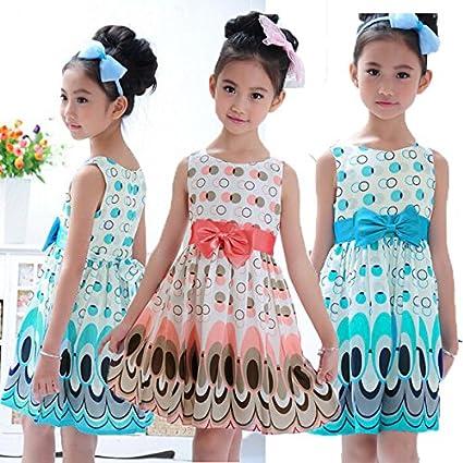 Calli Arco de Gasa princesa niñas ropa de correa sin mangas burbuja pavo real