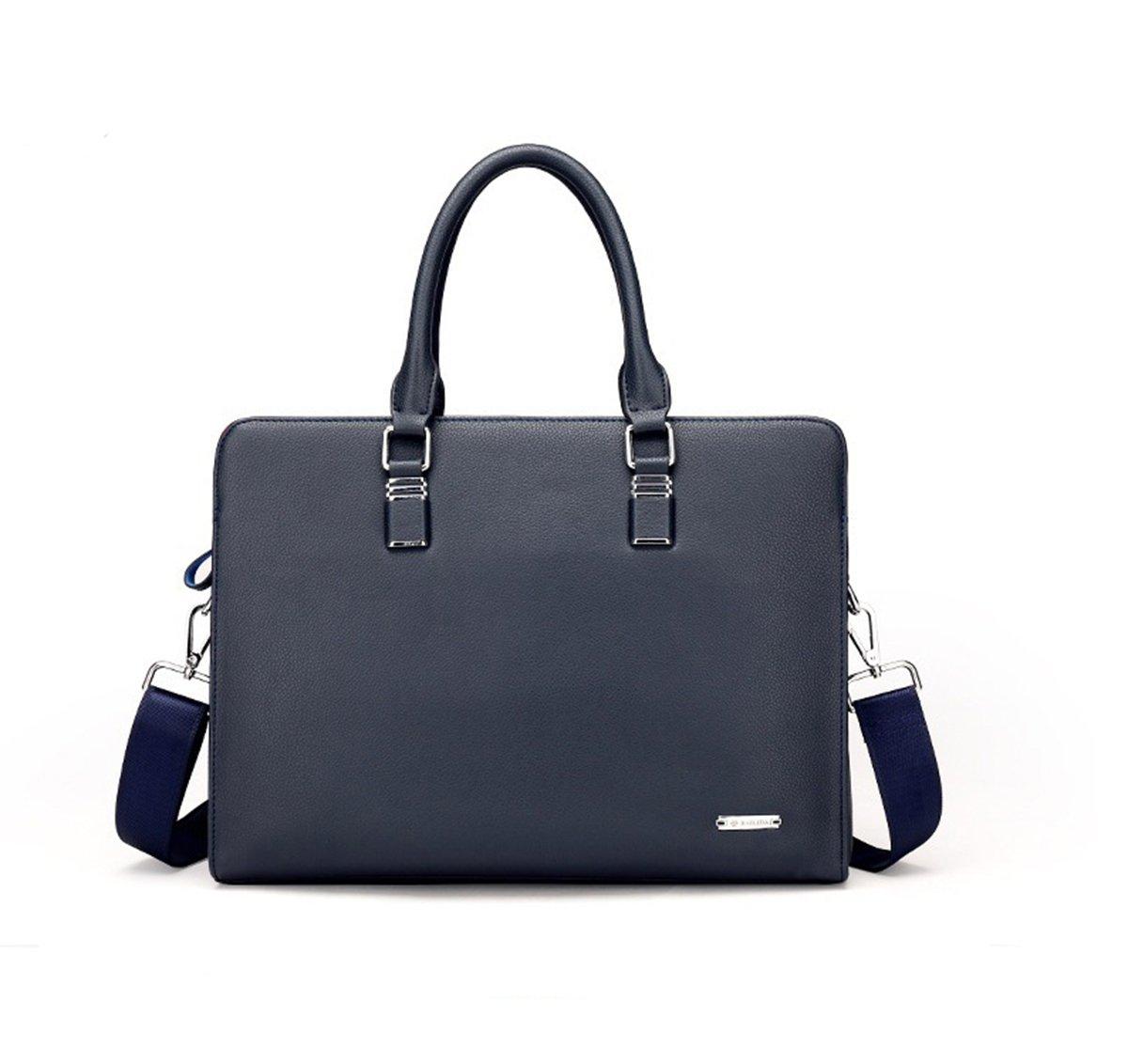 AIAIMEI Men's Large Shoulder Genuine Leather Laptop Briefcase Business Office Messenger Bags Handbags Laptop Bags Leather Crossbody Bags Blue