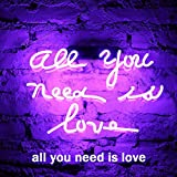 FUYALIN Neon Sign - ALL YOU NEED IS LOVE Home Decor Light bedroom Neon light sign for Wall lights Decor in Bedroom Store Bar Pub Nightclub