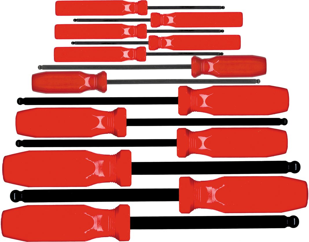 """Eklind Tool 90113 13 Piece SD Series Ball-Hex Screwdriver Set with Pouch, Sizes: .050"""" - 3/8"""""""