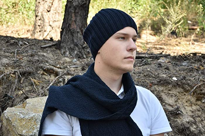 b411aaa5fe7 Image Unavailable. Image not available for. Color  set dark blue merino  wool knitted scarf and hat