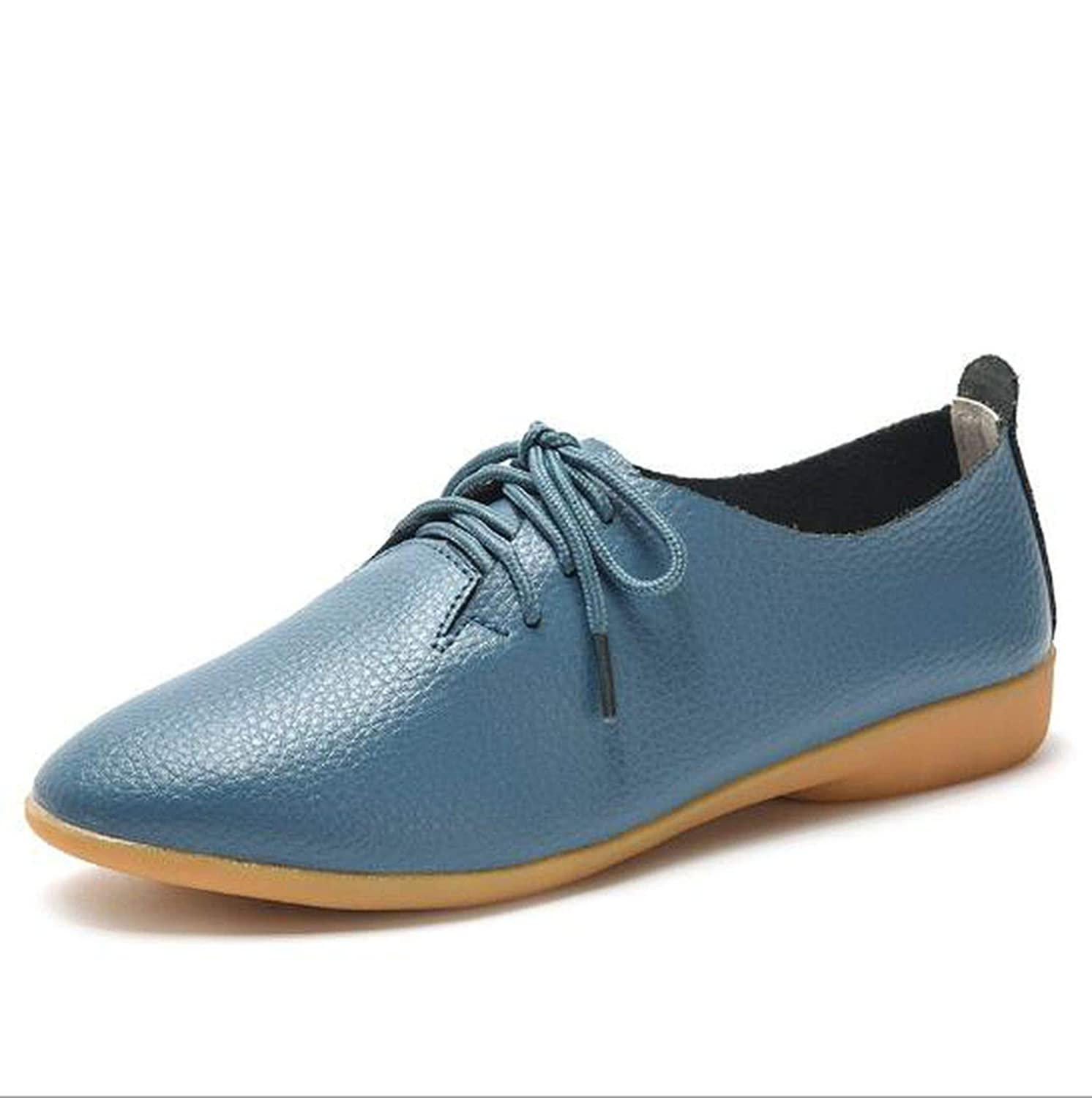 Pointed Toe Casual Split Leather Shoes Woman Solid Candy Colors Flat Shoes Woman Plus Size Soft Shoes