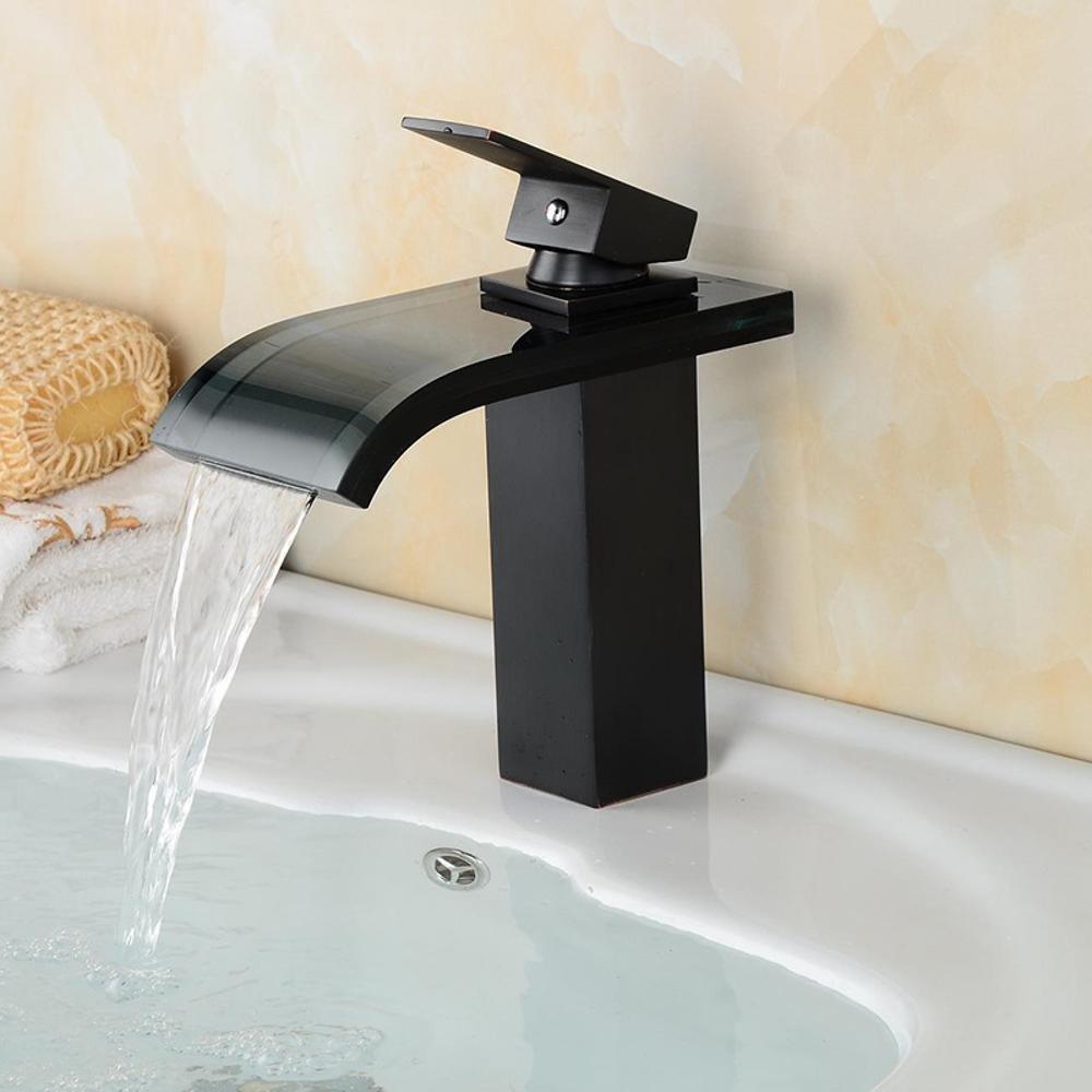 Luziang Wasserhahn Glasauslaß Bassinhahn Kupfer einziger Hahn- Sicherer für in Bad WC Küche