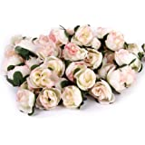 Tinksky 50pcs 3cm Artificial Roses Flower Heads Wedding Decoration (Light Pink)