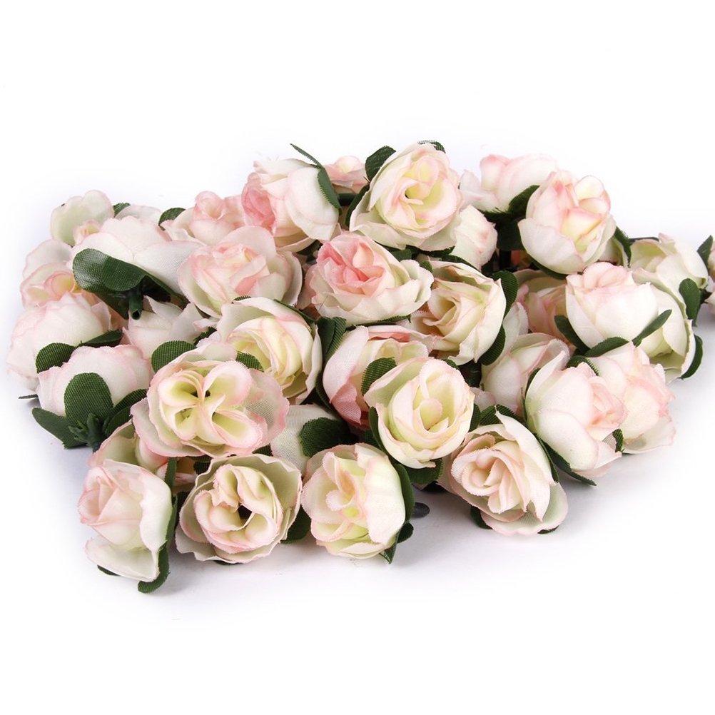 Topixdeals Silk Cream Pink Roses Flower Head Artificial Flowers