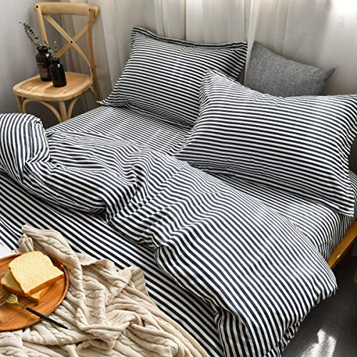 M&Meagle Lightweight Microfiber Duvet Cover Grey Blue,Navy Stripe Printed Pattern Bedding Sets with Zipper and Corner Ties for Women & Men's Bedroom-Queen Size(3Pcs,1 Duvet Cover+2Pillowcases) Blue Striped Duvet Cover
