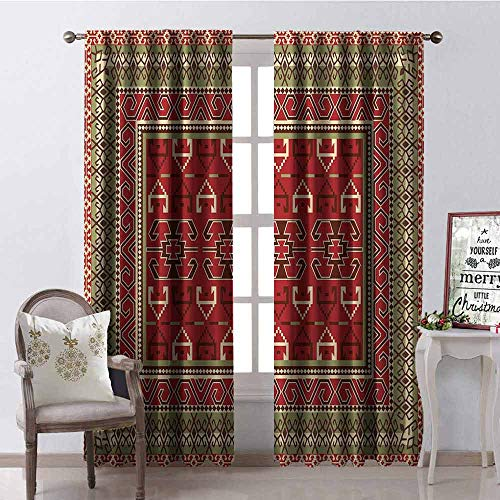 Ottoman Scalloped - Gloria Johnson Turkish Pattern 99% Blackout Curtains Rectangular Frames and Abstract Shapes with Ottoman Origins for Bedroom Kindergarten Living Room W52 x L95 Inch Ruby Pistachio Green Brown